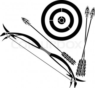2346577-bow-and-target-stencil-vector-illustration