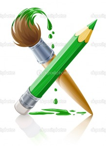 green pencil and brush with paint vector illustration isolated on white background
